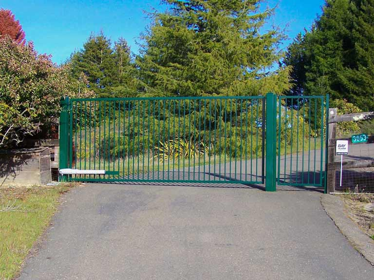 DiFranco Gate & Fence - Residential & Commercial Custom Automated Gate Contractor - Ornamental Iron - Western Style (rectangular) single swing-powder coated hunter green paint finish - Windsor, CA