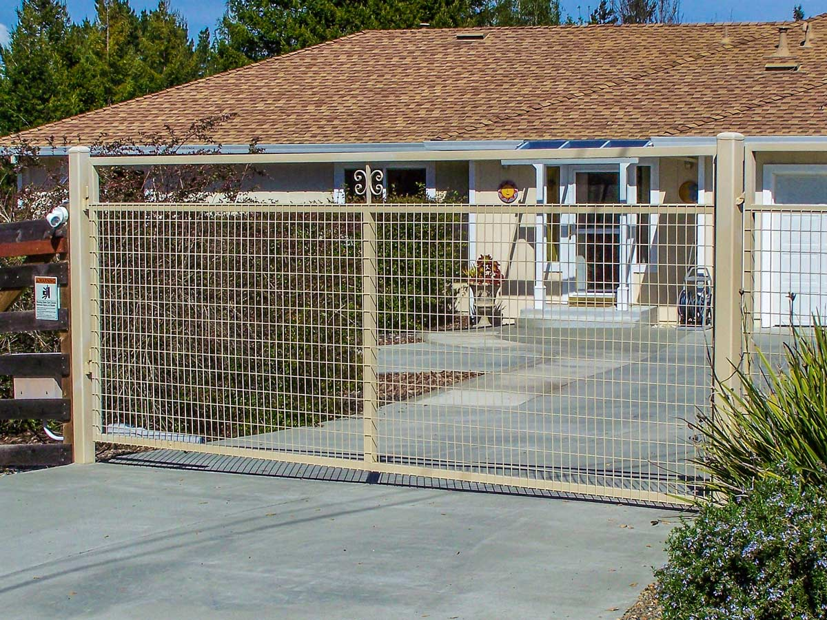 DiFranco Gate & Fence - Residential & Commercial Custom Automated Gate Contractor - Ornamental Iron Western Style Single Swing Steel Frame Heavy Grid Welded Wire Panel Fill Automatic Gate - Petaluma CA
