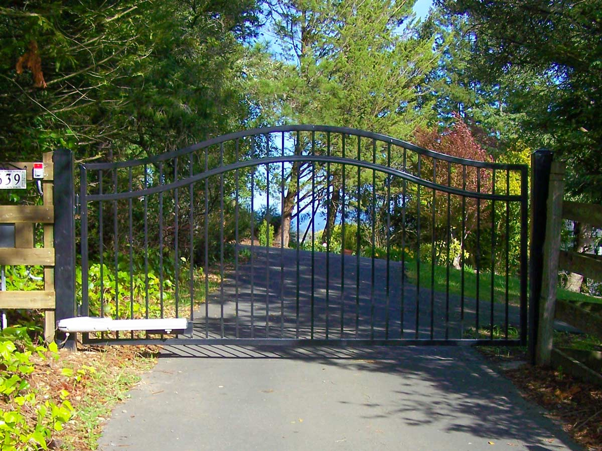 DiFranco Gate & Fence - Residential & Commercial Custom Automated Gate Contractor - Ornamental Iron - Executive style-double compound arched top-pc black paint finish - Cloverdale, CA