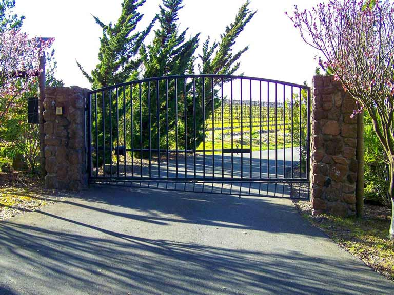 DiFranco Gate & Fence - Residential & Commercial Custom Automated Gate Contractor - Ornamental Iron Executive style-single simple arched top-single swing - Santa Rosa CA