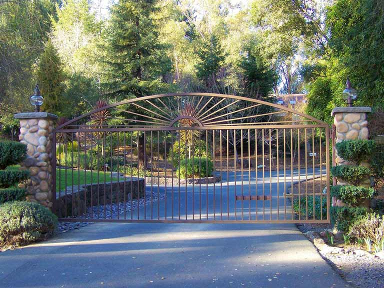 DiFranco Gate & Fence - Residential & Commercial Custom Automated Gate Contractor - Ornamental Iron - Sunburst style-simple single arch top-single swing entry gate-pc brown paint finish - Graton, CA