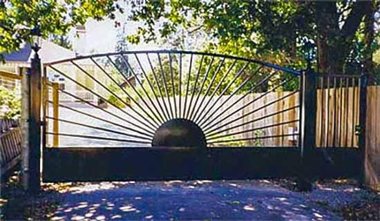 DiFranco Gate & Fence Company - Custom Ornamental Iron Driveway Gates - Full Sun Burst Design - Automatic Sider - Driveway Gate - Occidental, CA