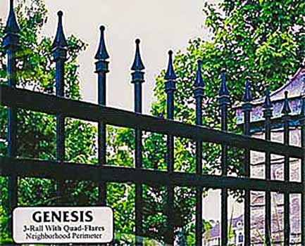 DiFranco Gate & Fence Company - Ornamental Iron Fences - Genesis Style 3-Rail Fence with Quad-Flares - Graton, CA