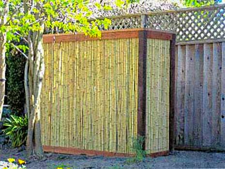 DiFranco Gate & Fence Company - Custom Bamboo Fences - Accent Section - Recessed Bamboo Fence with Trim Stained Posts - Cotati, CA