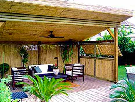 DiFranco Gate & Fence Company - Custom Bamboo Fences - Recessed Bamboo Fence - with Trim Stained Posts & Bamboo Patio Deck Enclosure - Sebastopol, CA