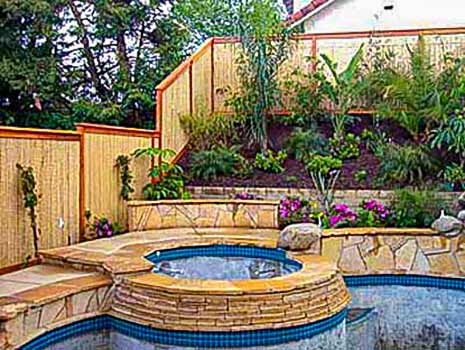 DiFranco Gate & Fence Company - Custom Bamboo Fences - Recessed Bamboo Fence with Trim Stained Posts - Santa Rosa, CA