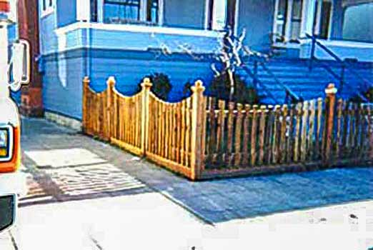 DiFranco Gate & Fence Company - Custom Built Picket Fences - Scalloped Top Picket Fence with Post Caps & kick board - Forestville, CA
