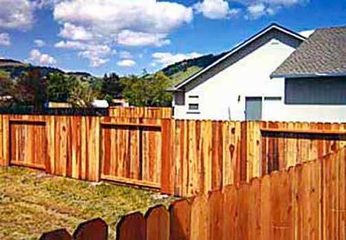 DiFranco Gate & Fence Company - Custom Solid Board Fences - Solid Board Fence Facetted to Frame, 1 sided Facing Public - Petaluma, CA