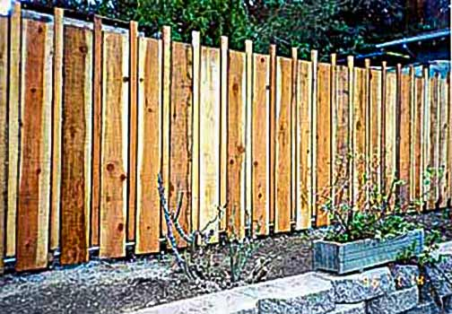 DiFranco Gate & Fence Company - Custom Solid Board Fences - Solid Board Fence with Alternating Width and Accents - Sebastopol, CA