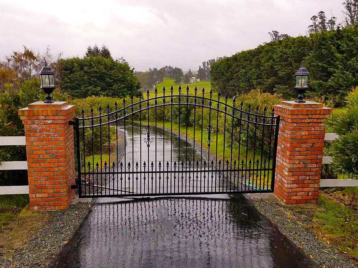 DiFranco Gate & Fence Company - Full-Service Custom Built Deck Construction Company - Custom Built Ornamental Iron Arched Double Top Rail Gate - Residential & Commercial Contractor Services - Sonoma, CA