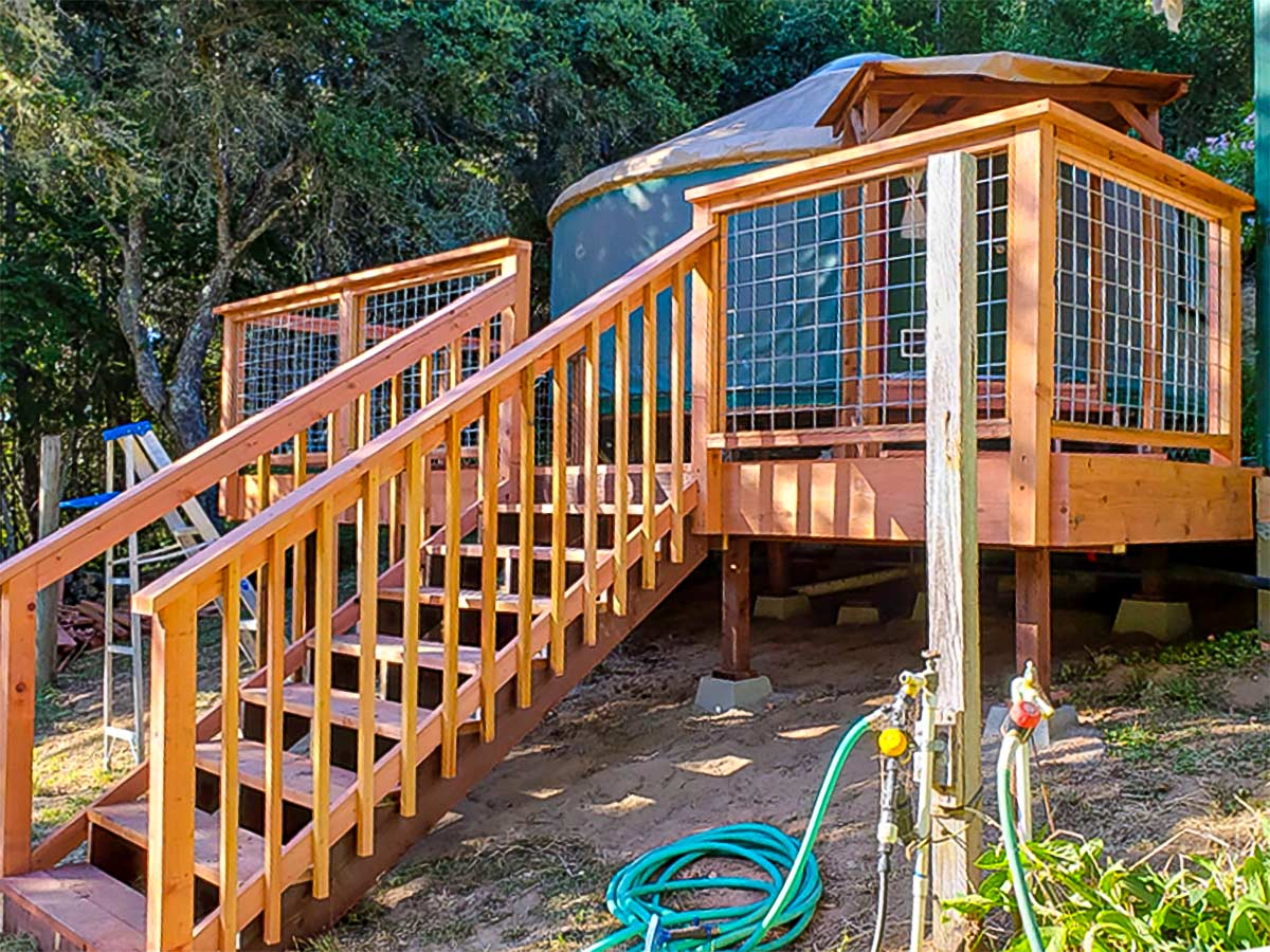 DiFranco Gate & Fence Company - Full-Service Custom Built Deck Construction Company - Custom Built Redwood Board Tereza Deck with Stairs and Railings - Residential & Commercial Contractor Services - Windsor, CA