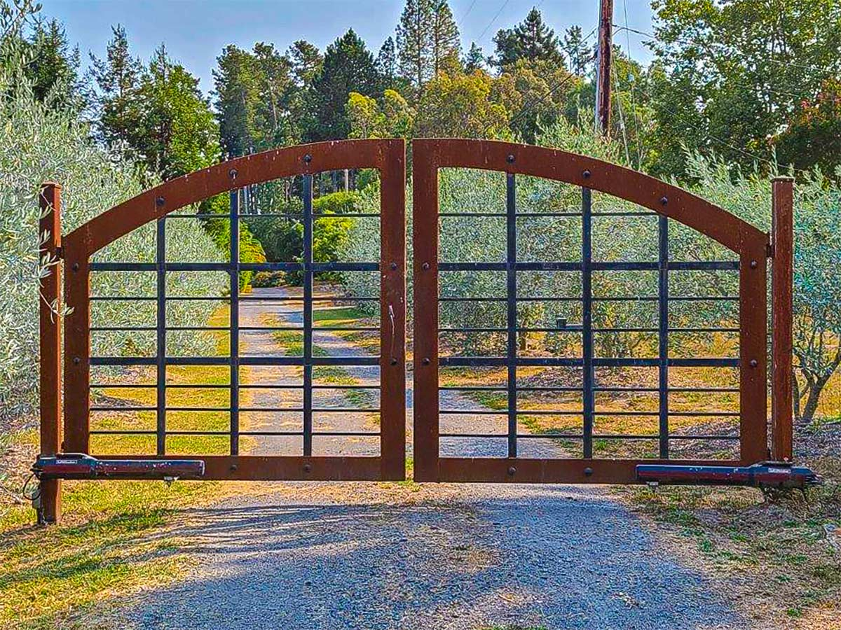 DiFranco Gate & Fence Company - Full-Service Custom Automated Gate Construction Company - Custom Built Ornamental Iron - Single Arched Gate - Residential & Commercial Contractor Services - Occidental, CA